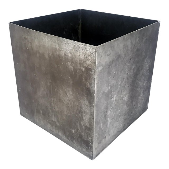 Vintage Cube Architectural Supplements Distressed Steel Planter For Sale