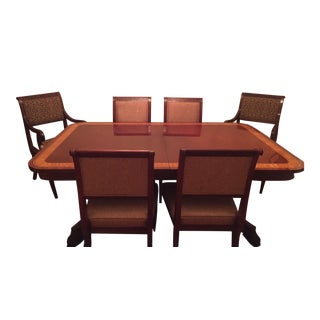 Baker Regency Style Mahogany Dining Table and Chairs For Sale