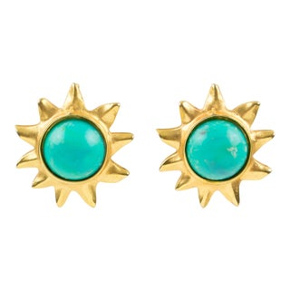 Edouard Rambaud Paris Signed Clip on Earrings Gilt Metal Sun Turquoise Cabochon For Sale
