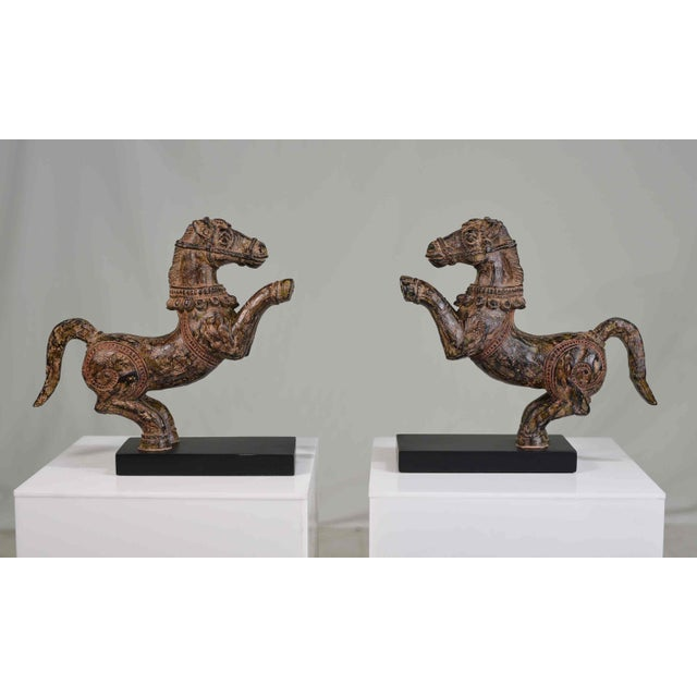 A fabulous pair of Samurai horse figures set on lacquered bases. Charming details are accented by a vintage oxidized...