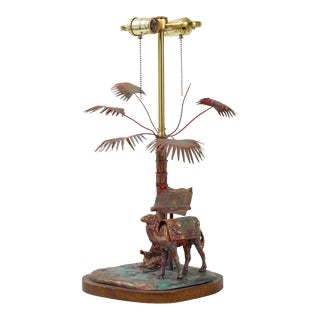 Early 20th Century Rider, Camel, and Palm Tree Lamp For Sale