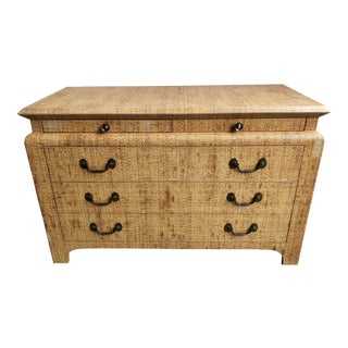 20th Century Boho Chic Harrison Van Horn Raffia Wrapped Chest For Sale