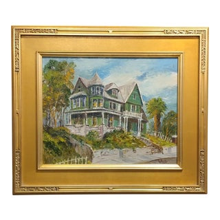 W. Mills Historic Victorian House in Los Angeles Oil Painting, 1930 For Sale