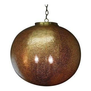 Hand-Hammered Moroccan Large Scale Lantern For Sale