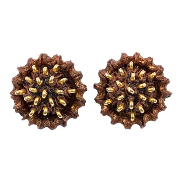 Francoise Montague Paris Clip on Earrings Brown Resin Talosel Brass Studs For Sale