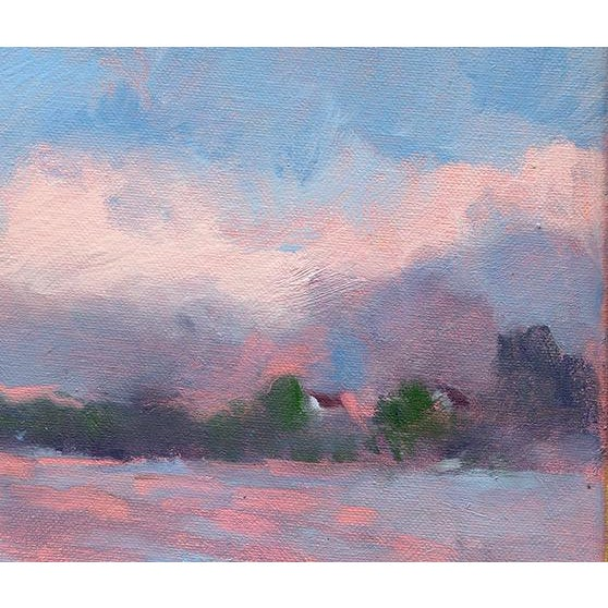 """This is a giclee of the original oil painting """"Foggy Morning"""" of Lake Carey, Tunkhannock, PA by Amy Griffith Colley, it is..."""