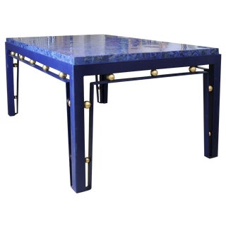Important Iron Library Table with Lapis Lazuli Top in the Manner of Royere