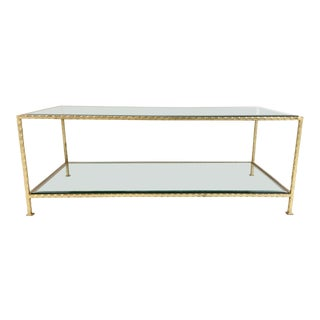 Ave Home Modern Gold Metal and Glass Chloe Cocktail Table For Sale