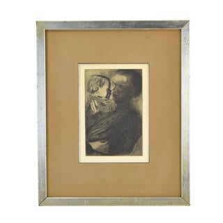 1960s Expressionist Kathe Kollwitz Etching of Mother and Child - Mutter Mit Kind For Sale