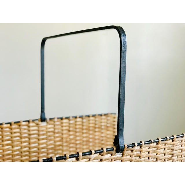 Mid Century Rattan and Iron Magazine Rack For Sale - Image 4 of 12