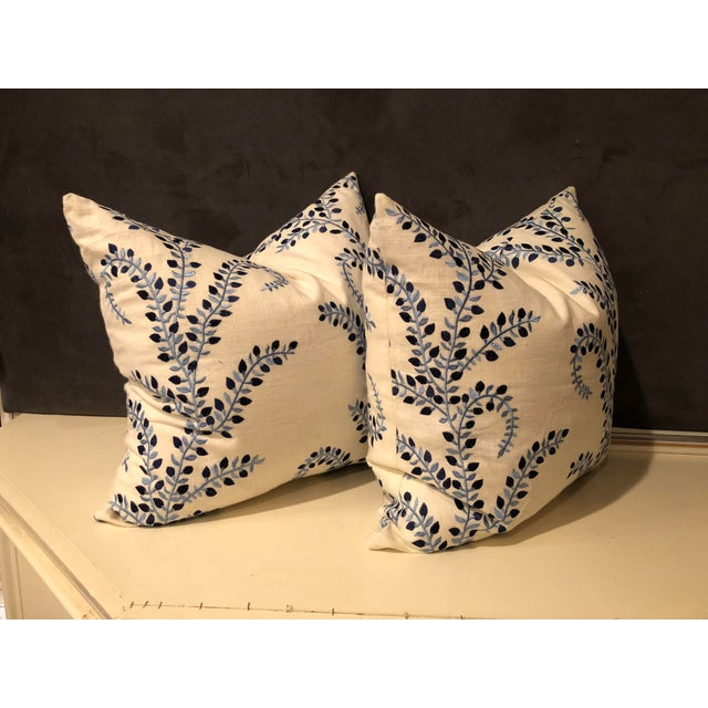 """Pretty in Blue"" Pillows - a Pair of Baris Chambray Embroidered by Duralee - Image 3 of 6"