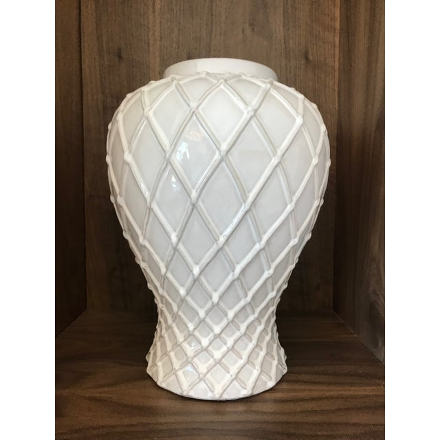 Exquisite Blanc De Chine Lidded Vase With Lattice Design, Italy For Sale - Image 4 of 12
