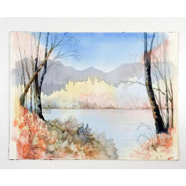 Shabby Chic Lakeside Watercolor Painting in Pastel Colors For Sale - Image 3 of 4