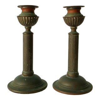 Antique Brass Candlesticks with Patina - A Pair