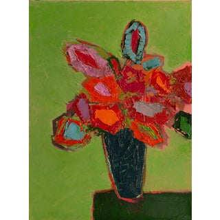 """Bill Tansey """" Green Wall """" Abstract Floral Oil on Canvas For Sale"""