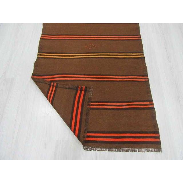 Vintage Orange & Yellow Striped Kilim Runner Rug - 3′2″ × 9′2″ For Sale In Los Angeles - Image 6 of 6