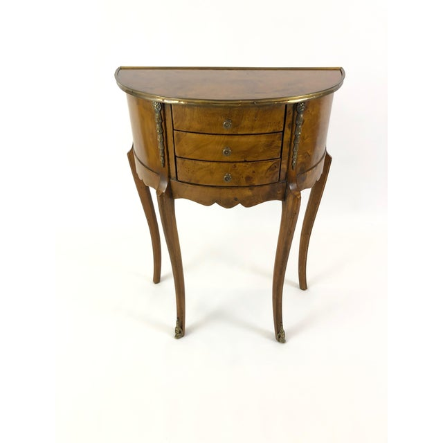 1960s Italian 3 Drawer Burlwood Demilune Console For Sale - Image 11 of 11