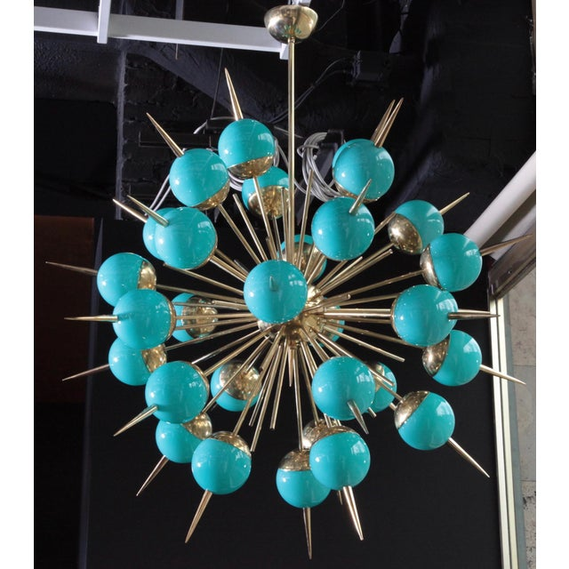 1 of 2 Huge Tiffany Turquoise Murano Glass and Brass Sputnik Chandeliers For Sale - Image 5 of 5