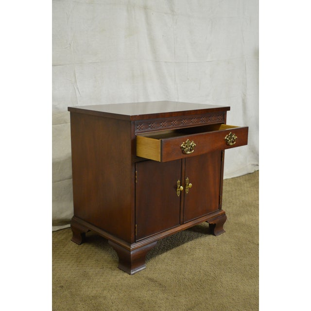 Baker Chippendale Style Mahogany Nightstand - Image 5 of 11