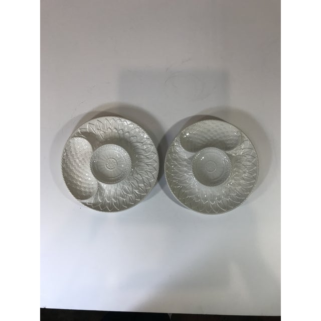Mid-Century White Portuguese Majolica Oyster/Shrimp Cocktail Plates - Set of 6 For Sale - Image 10 of 13