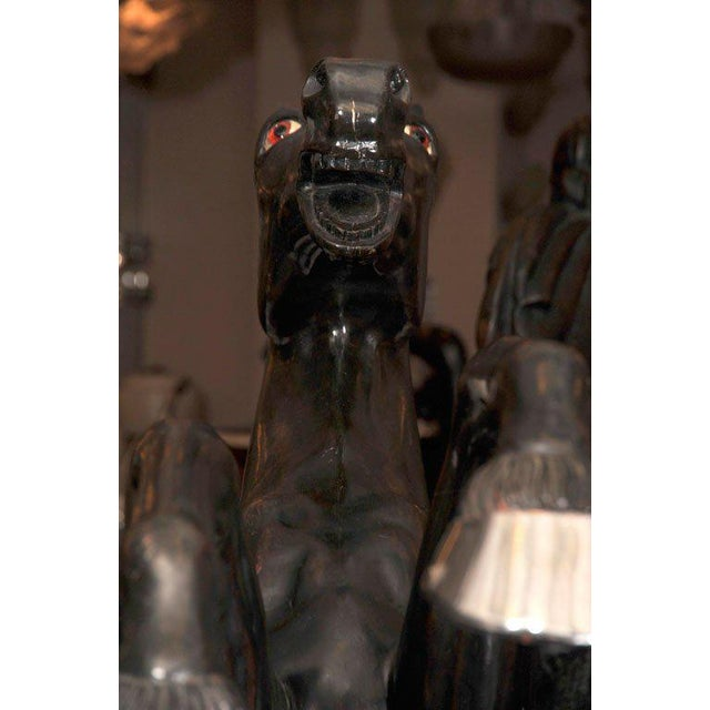 Brown Maison Jansen Pair of Monumental, Electrified Horse Figures For Sale - Image 8 of 10