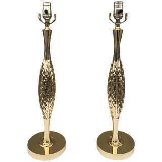 Brass 1960s Table Lamps With Leaf Detail For Sale