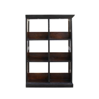 Distressed Black Lacquer Wood Small Table Top Curio Display Stand For Sale