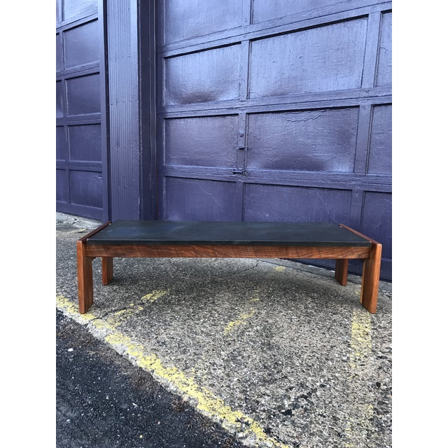 1970s Restored Adrian Pearsall Walnut Slate Coffee Table Craft Associates For Sale - Image 5 of 12