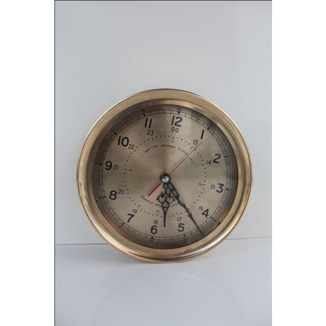 Nautical 1940´s Nautical Round Solid Brass Wall Clock For Sale - Image 3 of 10