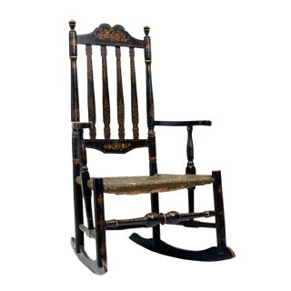 Black Painted Banister-Back Giltwood Rocking Chair For Sale