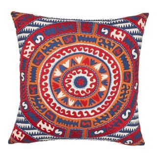 Schumacher Corfu Pillow in Navy Multi For Sale