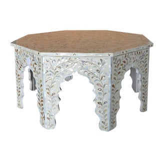 Moroccan Mother of Pear and White Octagonal Coffee Table For Sale