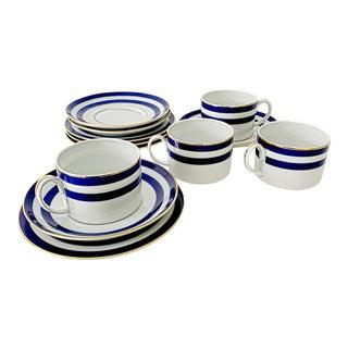 Vintage Spectator Cadet by Ralph Lauren Home Blue Pattern Tea Coffee Breakfast Dessert Set - 12 Pieces For Sale