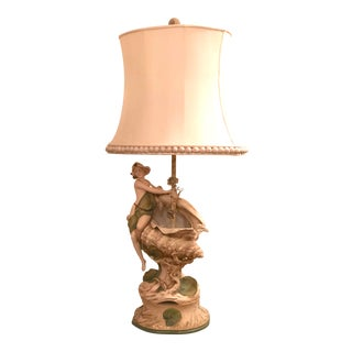 Antique Royal Dux Style Art Nouveau Lamp Girl Sitting on Conch Shell For Sale
