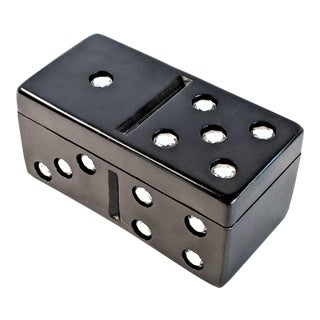 1980s Modern Rhinestone Domino Trinket Box For Sale