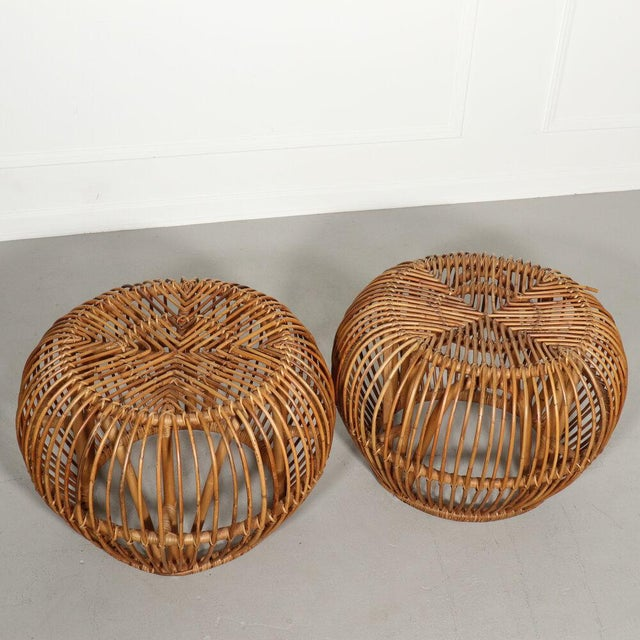 Mid-Century Modern Pair, Mid Century Franco Albini Stools, Side Tables For Sale - Image 3 of 9