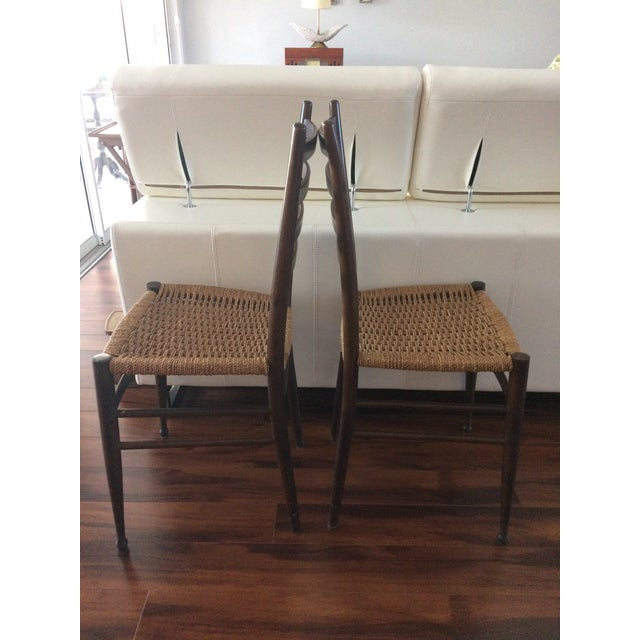 Vintage Italian Woven Seat Dining Chairs - A Pair - Image 3 of 11