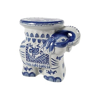 Blue and White Elephant Garden Stool For Sale
