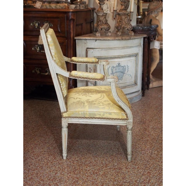 18th Century Painted Louis XVI Armchair For Sale - Image 4 of 11