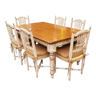Country Painted Style Tavern Table With 6 Wheat Back Chairs & 1 Leaf ~ 1990s For Sale