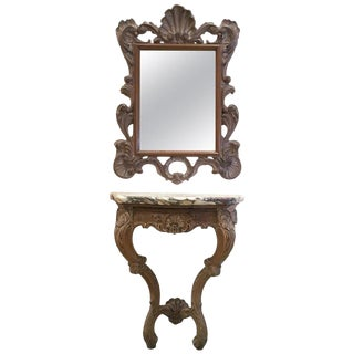 Early 20th Century Louis XV Carved Patinated Wall Hanging Console and Mirror For Sale