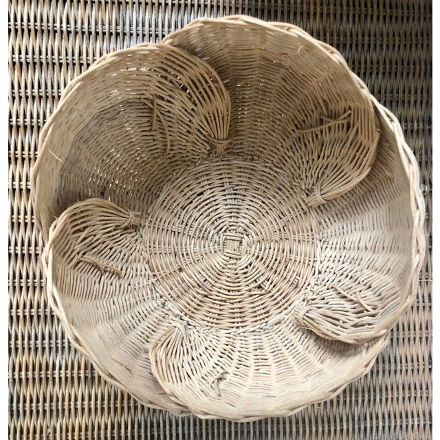 Mid 20th Century Floriform Structural Natural Woven Wicker Basket Bowl For Sale - Image 5 of 10