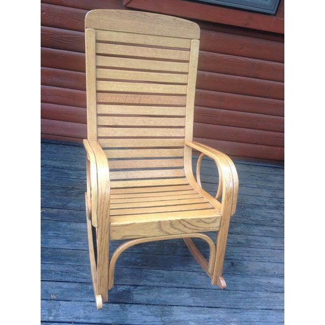 Brown 1990s Vintage R. Benna Bent Oak Slat Back Rocking Chair For Sale - Image 8 of 13