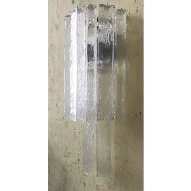 Transparent Italian Murano Glass Tubes Sconces - a Pair For Sale - Image 8 of 12
