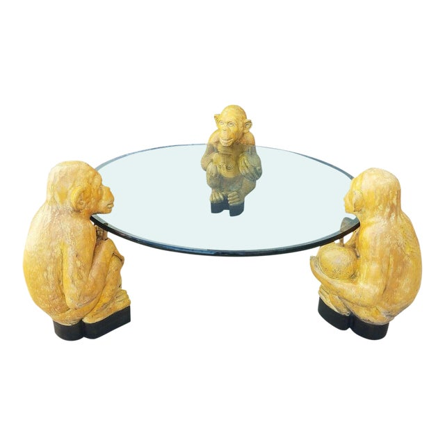 1970s Vintage Italian Monkey Glass Coffee Table For Sale