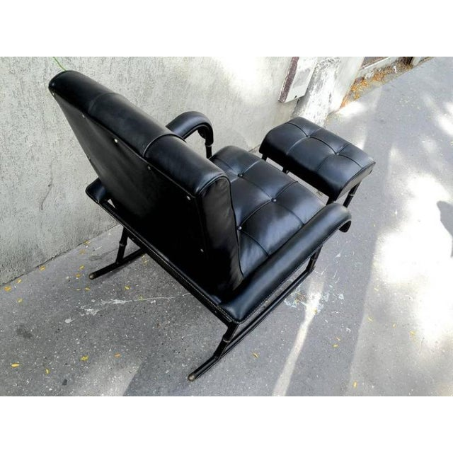 Mid-Century Modern Jacques Adnet Rare Rocking Chair and Footstool in Black Hand-Stitched Leather For Sale - Image 3 of 9