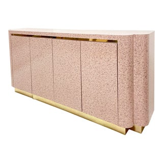 Art Deco Revival Style Pink Laminate Curved Credenza For Sale