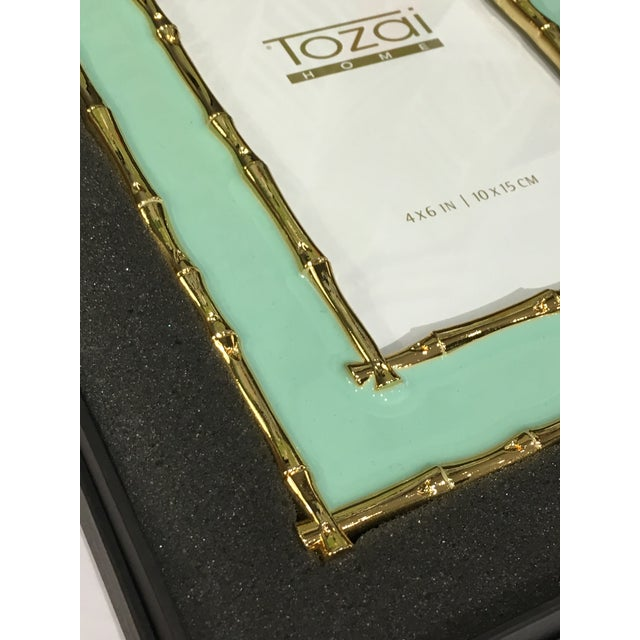 Asian Tozai Home Bamboo & Seafoam Enamel Picture Frame For Sale - Image 3 of 7