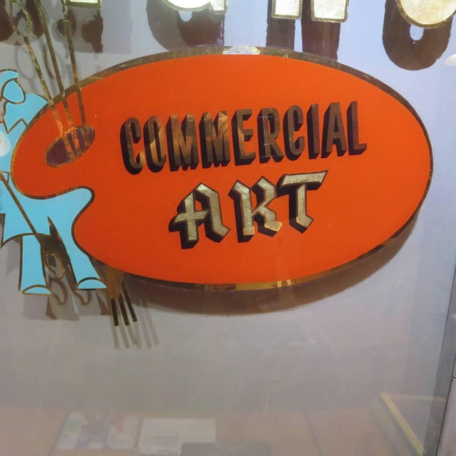 Folk Art Gilded Window From Sign Painters Storefront For Sale - Image 4 of 9