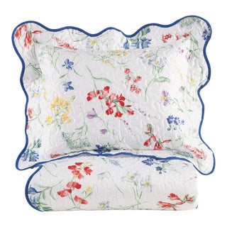 Spring Blossom Quilted Sham Multi-Colored in King For Sale
